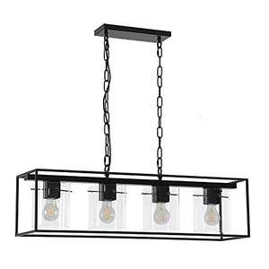 Liylan Pendant Light Fixtures Black Farmhouse, Pendant Lighting for Kitchen Island Dinning Room, 4-Light Chandeliers with Clear Glass Shade