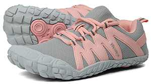 Womens Minimalist Barefoot Shoes Low Zero Drop Trail Running Camping Lady Fitness Exercise Gym Workout Sneaker Tennis for Female Wide Toe Box Lightweight Gray Pink US Size 10.5