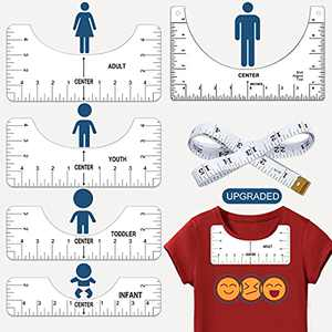 T-Shirt Vinyl Alignment Guide Ruler Tool Set with Soft Tape Measure for Making Fashion Center Design, Craft Sewing Supplies for HTV Heat Press Vinyl Alignment Placement Sublimation Screen Printing