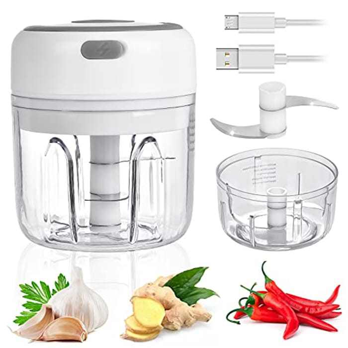 Mini Food Chopper, WZTO Wireless Portable Electric Garlic Chopper, Blender Food Processor, USB Charging, BPA-Free, Easy to Clean, for Baby Food/Peppers/Onions/Garlic/vegetable/Fruits/Chili/Nuts(250ML)