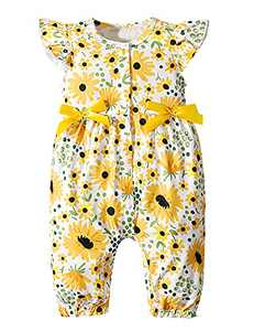 Aslaylme Baby Girls Summer Romper Toddler Floral Ruffle Sleeve Jumpsuit (Yellow-Floral,12-18 Months)