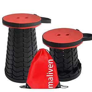 Maliven Portable Collapsible Stool,Adjustable Height Portable Telescopic Stool, Suitable for Camping, Fishing, Hiking, Barbecue, Gardening,Bathroom,Max Load 400lbs(Red)