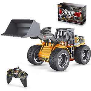 kolegend Remote Control Bulldozer Toy Truck, 1/18 Scale RC Metal Rc Front Loader 4WD Construction Vehicles for Boys Girls Kids with Rechargeable Battery