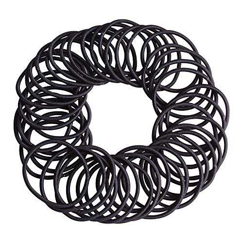 JOHN PHIL 100 Pieces No Metal Hair Ties, Black Hair Elastics, 4mm Hair Bands for Women or Men,Ponytail Holder