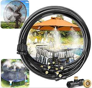 MathRose Outdoor Misting Cooling System kit, Outside Patio 50FT(15M) Misting Line + 15 Mist Nozzles + 1 Faucet Adapters Misters, Misting Systems for Fan, Greenhouse, Garden,Trampoline, Waterpark