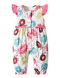 Aslaylme Baby Girls Summer Romper Infant Donut Sleeveless Jumpsuit (Pink,3-6 Months)