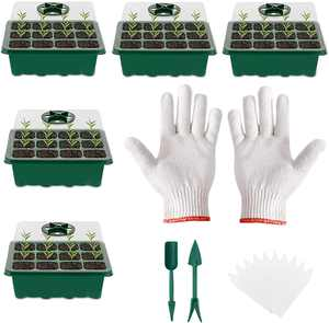 Slimerence 5Pcs Plant Starter Trays Humidity Adjustable Plant Germination Set with 2*Gardening tools, 10*Plant Tags and 1*Gloves (12 Cells per Tray) for Seedling Greenhouse Indoor Outdoor