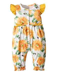 Aslaylme Baby Girls Summer Romper Newborn Floral Sleeveless Jumpsuit (Multicoloured,0-3 Months)