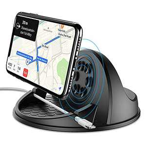 Wireless Car Charger Mount 10W Fast Charging Car Phone Holder with QC 3.0 Silicone Anti-Slip Desk Phone Stand Compatible with iPhone Samsung Android Smart Phones GPS Devices and More (Black 3)