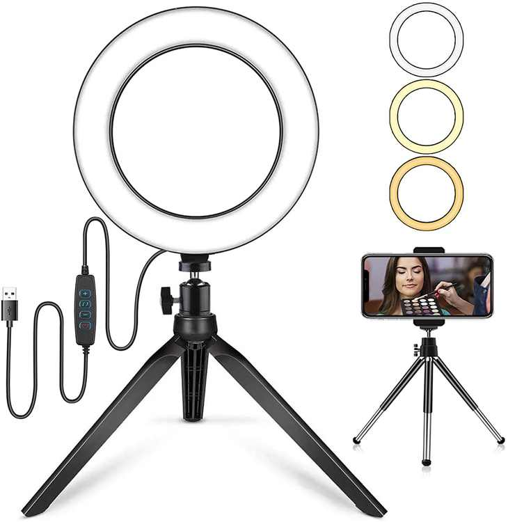 AUTOPkio LED Ring Light with Tripod Stand & Phone Holder, Dimmable Desk Selfie Light 3 Modes & 10 Brightness 7.9'' for Makeup, Tiktok, Youtube Video, Live Streaming