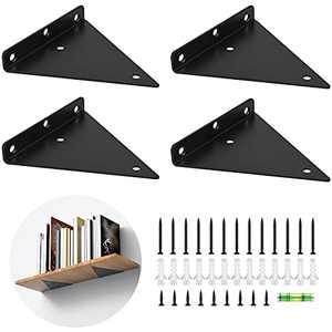 Shelf Brackets 6 inch - Heavy Duty & Extra Thick Corner Brace Black Steel Decorative Joint Angle Bracket for Shelf Triangular Bracket 4pcs (6inch, Glossy Black)