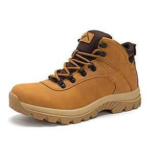CC-Los Men's Hiking Boots 5-Year Warranty Waterproof Mid Top Boot Shock-Absorbing EVA Casual Lightweight