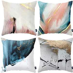 Symiiaus Teal Soft Velvet Throw Pillow Covers 18x18 Set of 4 Decorative Cushion Cover Blue White Abstract Art Painting Pillowcase for Sofa Couch Bedroom Living Room Home Decor