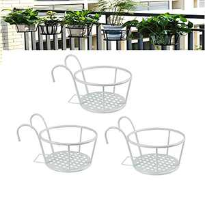 Hanging Railing Planter Baskets, Iron Art Hanging Baskets, Iron Potted Plants Rack, Flower Pot Holder Hanger Over The Rail Fence Pots Stand for Balcony Porch Fence Indoor and Outdoor Use (3 Pack)