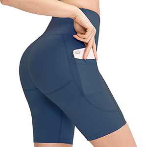 Msicyness Women's High Waist Yoga Shorts Hiking Shorts for Women Workout Running Compression Biker Shorts with Pockets