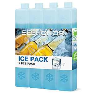 SEEHONOR Ice Packs for Coolers Reusable Long Lasting Slim Freezer Packs for Lunch Box Lunch Bags Cooler Backpack Camping Beach Picnics (Blue-4 Pack)