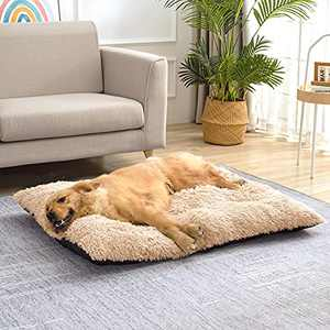 """Small Dog Bed Cat Bed for Crate, Washable Fluffy Calming Pet Bed Mat, PP Cotton Waterproof Anti-Anxiety Pet Kennel for Large Medium Small Puppy Dogs Cats, Beige 25""""X18"""""""