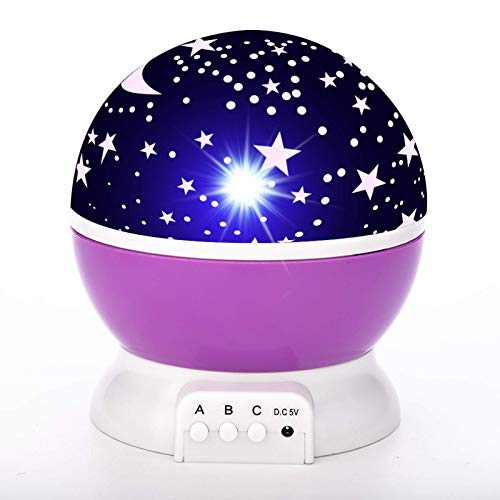Star Lamp Night Light Projector Gift for Kids, Use in Bedroom, Party Decorations etc - Purple