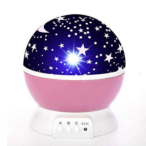 Star Lamp Night Light Projector Gift for Kids, Use in Bedroom, Party Decorations etc - Pink