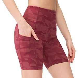 Msicyness Women's High Waist Yoga Shorts Buttery Soft Workout Sports Shorts with Side Pockets Running Biker Shorts