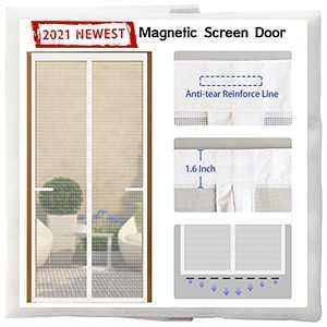 Magnetic Screen Door 36 Magnets[2021 Upgraded Version]39x83,Full Frame Seal Heavy Duty Fiberglass Mesh Screen Door Magnets,Retractable Door Screen Magnetic Closure for Single Sliding Front Door,White