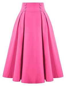Women's Plus Size Summer Casual Flared Midi Skirt High Waist Midi Button Skirts,Rose,XL