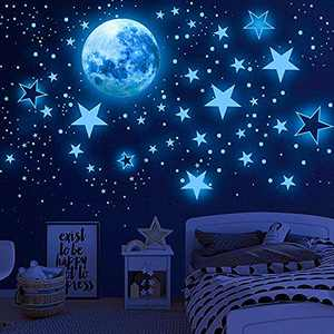 Glow in The Dark Stars for Ceiling, Airsnigi 1120PCS Adhesive Wall Stickers,Including Glow Stars and The Moon,Glowing Stars for Ceiling and Wall Decals,Perfect for Kids Bedroom and Kids Birthday Gift (Blue)