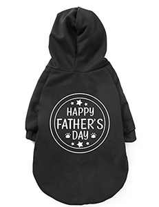 Coomour Happy Father Day Dog Hoodies Pet Funny Paw Costume Clothes Cat Cute Father Shirt Small Dog Tops for Pets Cats Dogs Outfits (Small)