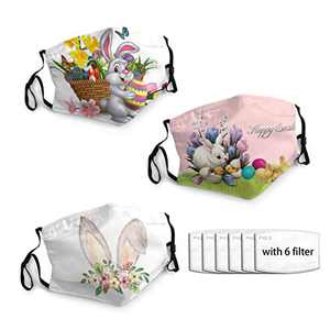 3PCS 2021 Easter Rabbit Face Mask for Adults Face Balaclava Comfortable Reusable with 6 Filters for Men Women Teen