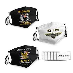 United States Navy Veteran Face Cover Washable 3PC with 6 Filters Masks Cover Reusable Men's Women's Made In USA
