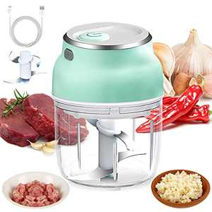 FAHZON Wireless Garlic Chopper, 300Ml Electric Mini Food Processor, 37W Portable Vegetable Chopper with 4 Blade for Garlic/Onions/Meat/Nuts/Pepper/Ginger/Salad/Fruits