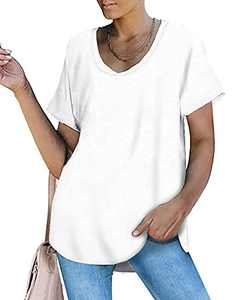 Womens Short Sleeve Scoop Neck T Shirts Casual Loose Fit Basic Summer Tee Tops White