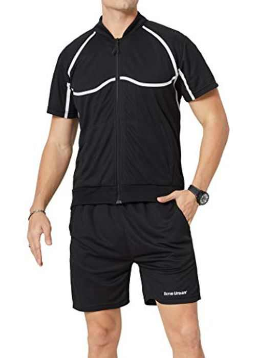 LBL Men's Athletic Jackets and Shorts Outfits Short Sleeve Activewear Sports Set Summer Casual Tracksuit
