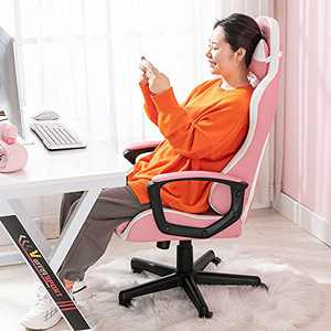 Bonzy Home Gaming Chair Computer Gaming Chair Ergonomic Racing Chair with Lumbar Support Arms Headrest High Back PU Leather Rolling Swivel Adjustable PC Computer Chair for Adults (Pink)