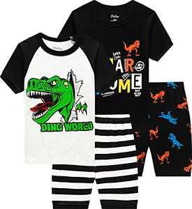 Little Boy Dinosaurs Pajamas Summer Cotton Pjs Children 4 Pieces Short Set Size 6 Years