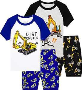 Boys Truck Pajamas Summer Cotton Pjs Children 4 Pieces Short Set Size 8 Years