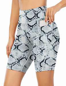 "Angerella Yoga Shorts for Women with Pockets High Waist Biker Shorts Workout Athletic Running Shorts 8"" White Snake Pattern Print S"