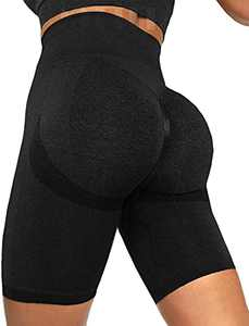 FITTOO Scrunch Seamless Booty Shorts for Women Butt Lifting Workout Biker Yoga Short Leggings High Waist Gym Bottom Smiling Peach Black L