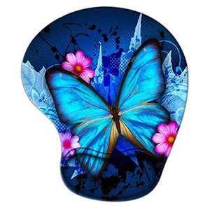 Blue Butterfly Flower Mouse Pad with Wrist Support, Ergonomic Gaming Mousepad Non-Slip Soft Sensitive Material, Cute Mouse Pads for Wireless Mouse as Home Office Desktop Accessories or Ideal Gift
