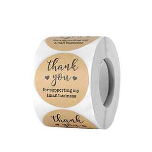 """Thank You Stickers Labels for Supporting My Small Business Stickers, Business Stickers Roll for Business, Online Retailers, Boutiques, Shops to Use on Bags, Boxes and Envelope (2"""",500 Pieces)"""
