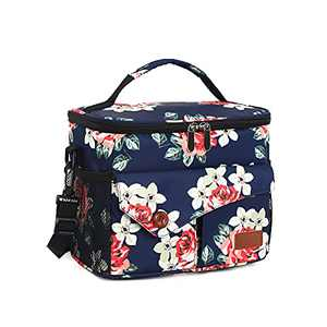 Insulated Lunch Box for Men Women, Lunch Cooler Bag for School Work Office Picnic Beach, Reusable Cooling Tote Bag Organizer for Adult & Kids (Floral)