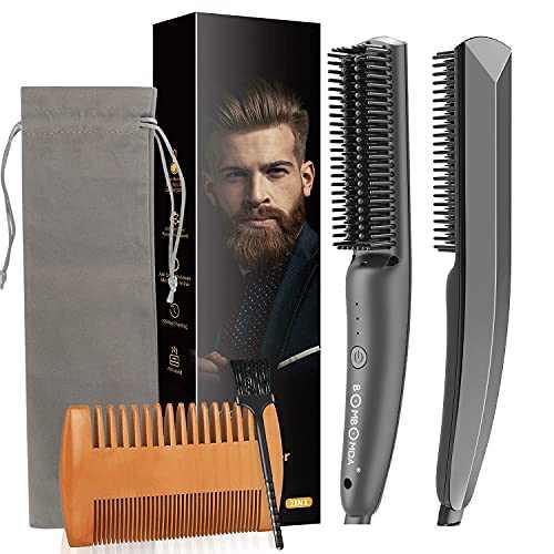 Beard Straightener for Men, Ceramic & Ionic Hair Straightener Brush, Professional 3 in 1 Heat Beard Straightening Comb Anti-Scald Hot Comb for Gift for Dad Men Women…