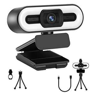 2K Webcam with Ring Light & Microphone for Desktop, HD Streaming Web Camera with 3-Level Brightness for PC Video Conference/Calling/Teaching/Gaming/Laptop/Mac/Zoom/Skype