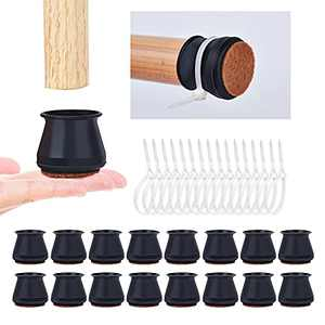 Upgrade 16 Pcs Chair Leg Floor Protectors, Soft Silicone Furniture Foot Protector Pads with Extra Grip Protection Ring, Stool Leg Protectors Caps to Prevent Floor Scratches and Reduce Noise Black L