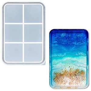 Rolling Tray Molds for Epoxy Resin, Silicone Rectangle Tray Molds for Resin Casting, Fit DIY Home Table Coaster Tray/Jewelry/Fruit Snack Tray/and Home Decoration, Sturdy Large Tray Molds with Edges.