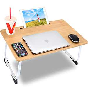Bamboo Bed Tray Table,Foldable Portable Laptop Stands with Slot,Computer Stand for Desktop, Serving Bed tray for Eating/Writing/Gaming/Drawing/Working,Laptop Tray in Couch,Sofa,Bed for Kids and Adults