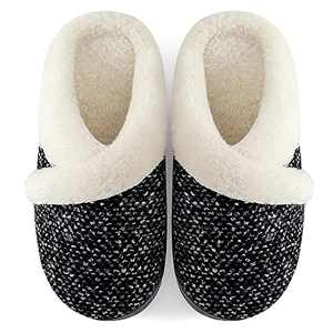 Lovlife Women's Slip on Fuzzy Slippers Memory Foam House Slippers Outdoor Indoor Comfy Warm Plush Bedroom Shoes Scuff with Fur Lining Grey.02 40-41