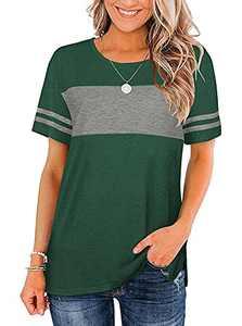 WAYMAKER Women's Color Block T-Shirt Baseball Tee Striped Short Sleeve Tunic Side Split Tops(Green,M)