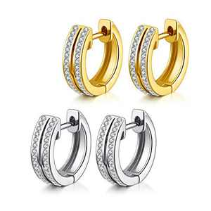 18K Gold Plated Cuff Earrings for Women, Small Cubic Zirconia Stone Men's Huggie Hoop Earrings(2 pairs)