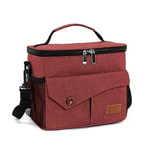 Insulated Lunch Box for Men Women, Lunch Cooler Bag for School Work Office Picnic Beach, Reusable Cooling Tote Bag Organizer for Adult & Kids (Red)